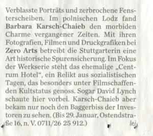 Verblasste Porträts und zerbrochene Fensterscheiben, Ausstellung Entrückt mit Barbara Karsch-Chaieb, Stuttgarter Zeitung
