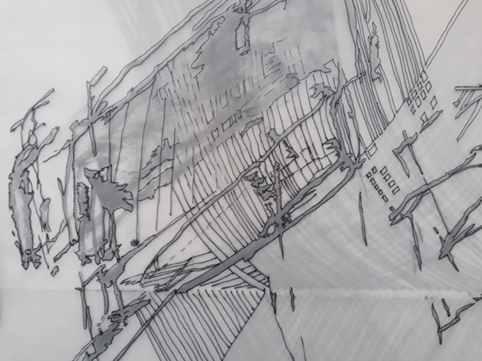 Contemporary drawing Linienscharen Stuttgart